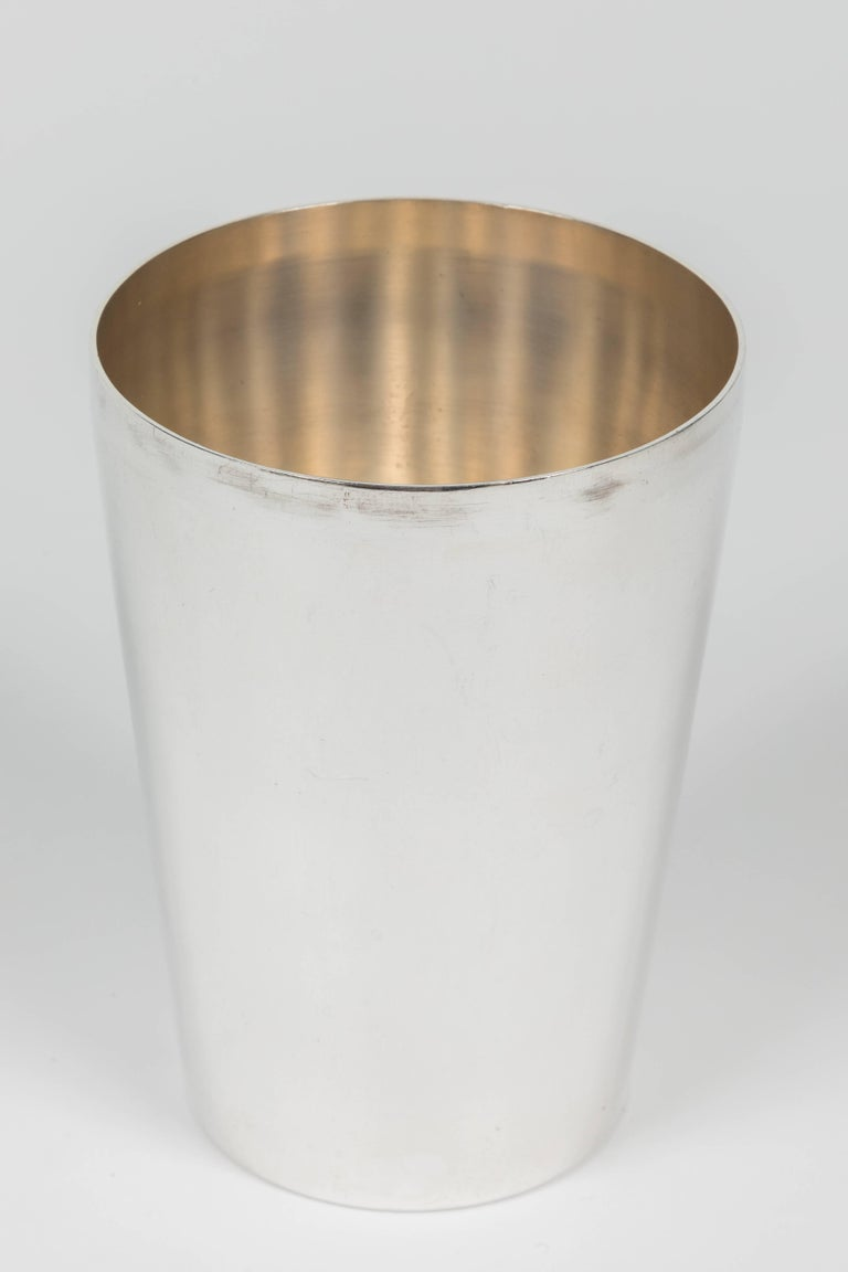 Polished Silver Plated Metal Cocktail Shaker by R. Wallace & Sons For Sale