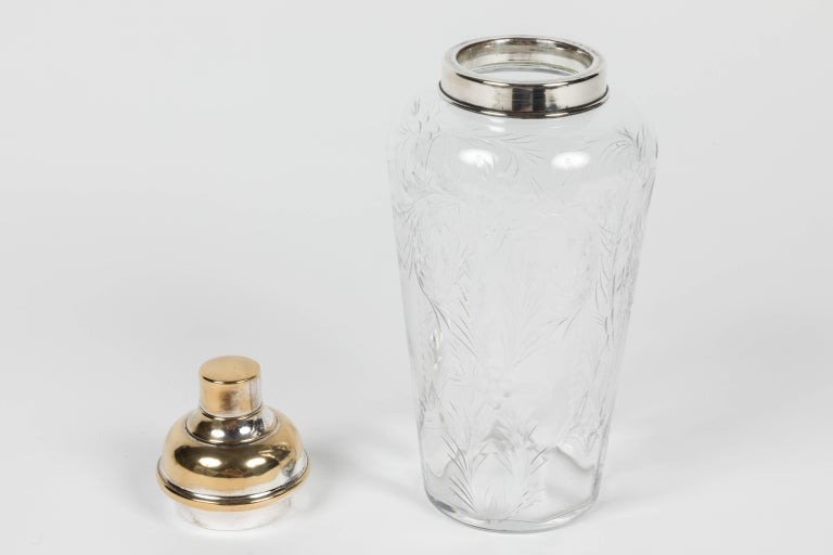 American Etched Crystal and Silver-Plated Cocktail Shaker by Hawkes For Sale