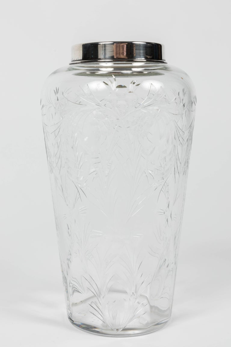 Mid-20th Century Etched Crystal and Silver-Plated Cocktail Shaker by Hawkes For Sale