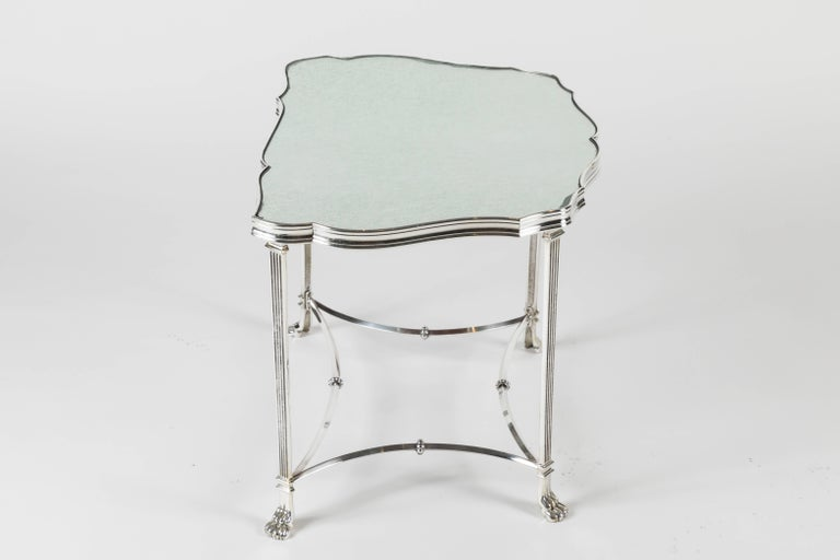 Pair of French Silver Plate and Mirrored-Top Side Tables In Good Condition For Sale In Los Angeles, CA