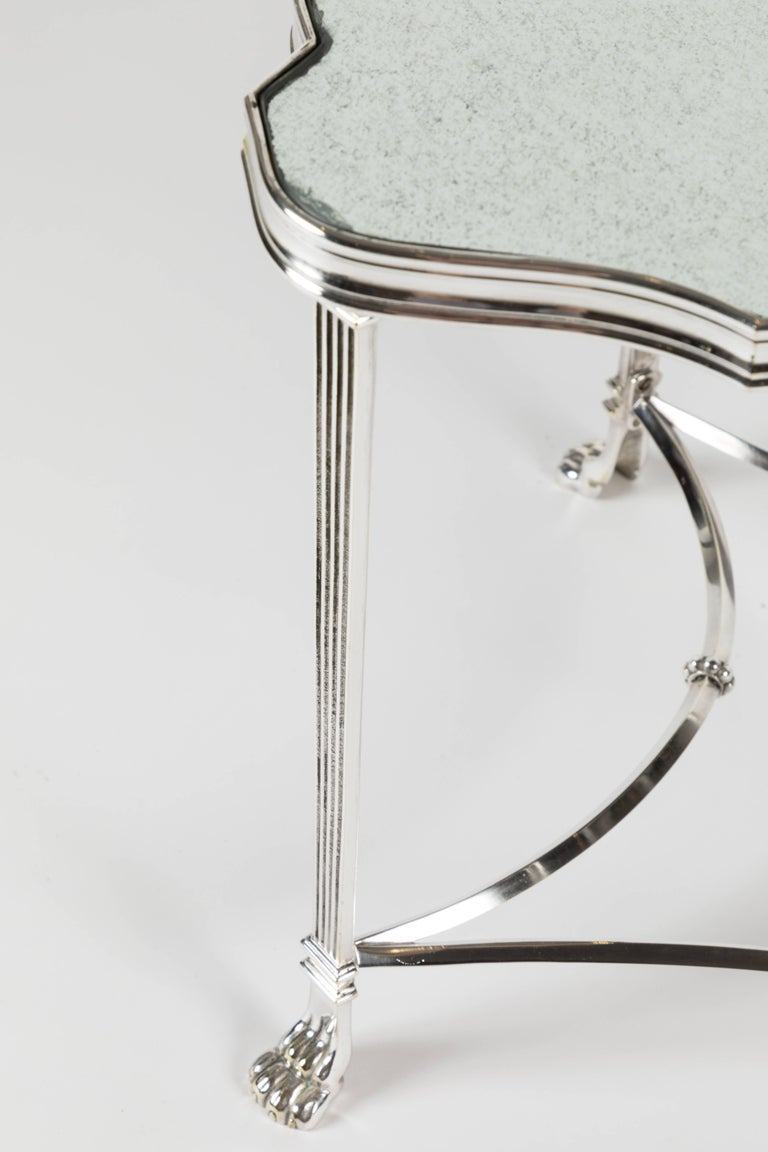 Pair of French Silver Plate and Mirrored-Top Side Tables For Sale 1