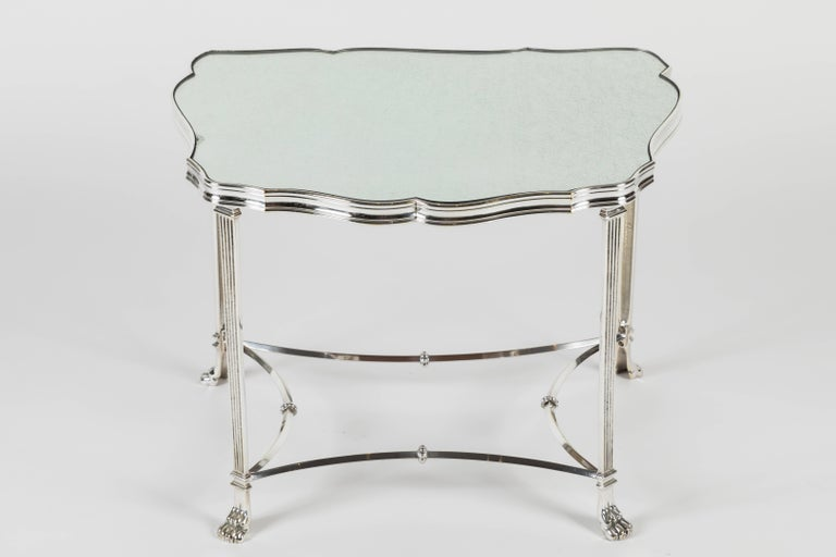 Pair of French Silver Plate and Mirrored-Top Side Tables For Sale 3