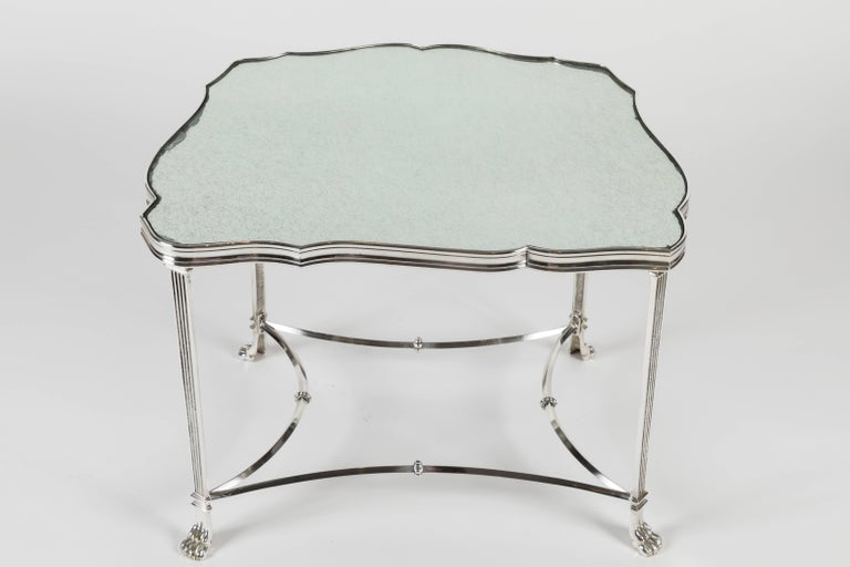 Mid-20th Century Pair of French Silver Plate and Mirrored-Top Side Tables For Sale
