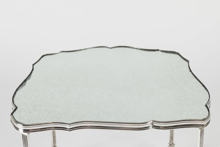 Metal Pair of French Silver Plate and Mirrored-Top Side Tables For Sale
