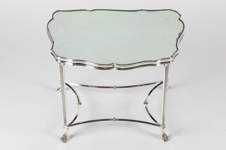 Plated Pair of French Silver Plate and Mirrored-Top Side Tables For Sale