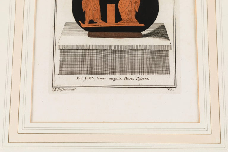 Carved Set of Three Framed Prints Depicting Greek Apulian Red-Figure Pottery For Sale