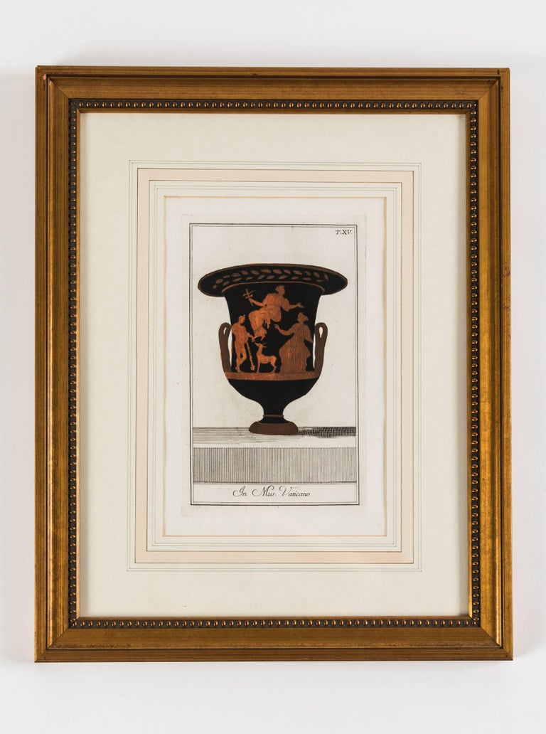 Wood Set of Three Framed Prints Depicting Greek Apulian Red-Figure Pottery For Sale