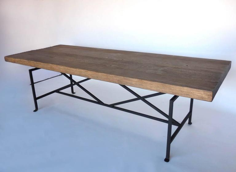 Custom Reclaimed Wood Table with Iron Base For Sale at 1stdibs