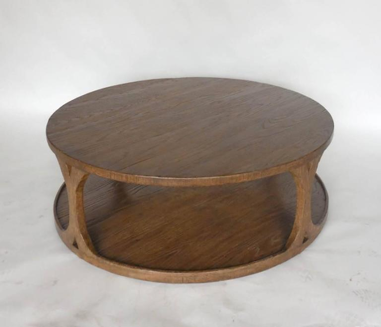Dos Gallos Custom Round Oak Coffee Table For Sale At Stdibs - Custom size coffee table