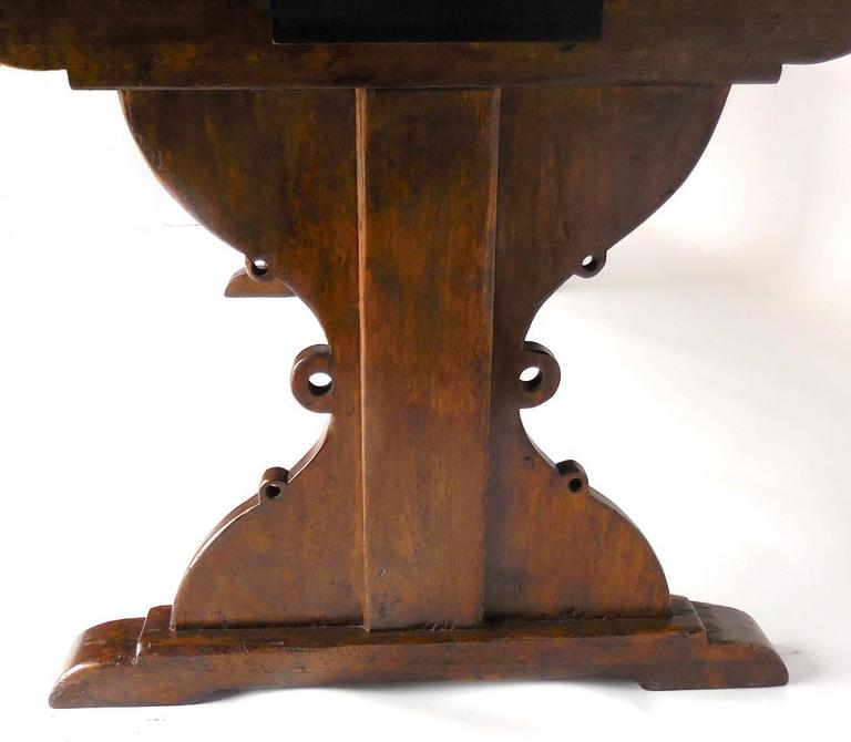 Custom Walnut Wood Table With Decorative Base And