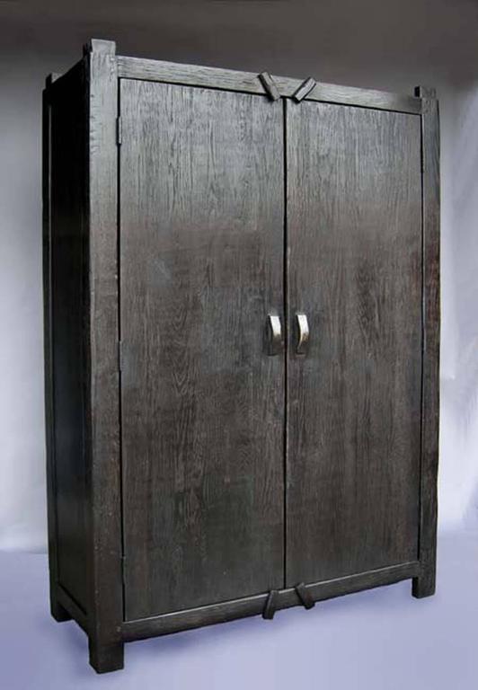 Custom Large Primitive Modern Armoire Cabinet Wardrobe In