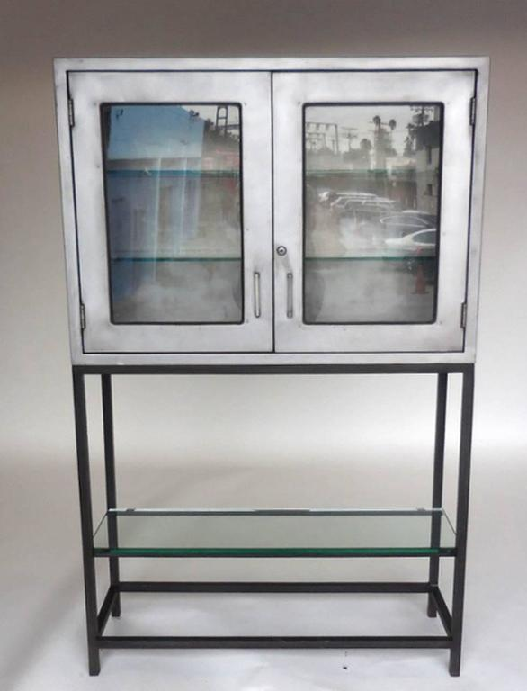 Industrial Vintage Metal Dentist Cabinet With Glass Doors And Custom Iron Base For