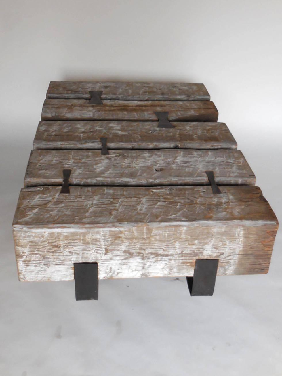 Rustic Modern Reclaimed Wood Beam Cocktail Table With Iron For Sale At 1stdibs