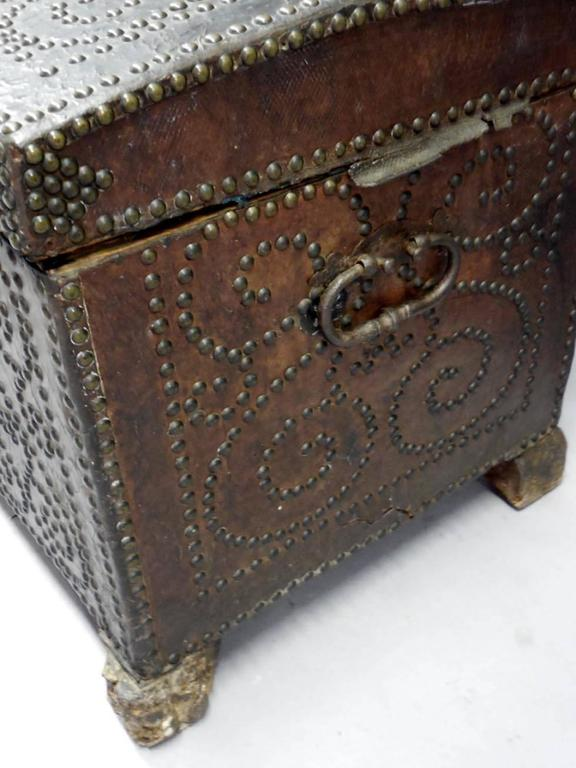 18th Century and Earlier Spanish Leather Trunk For Sale