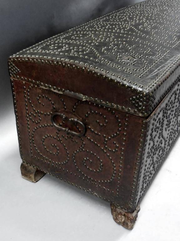 Spanish Leather Trunk For Sale 5