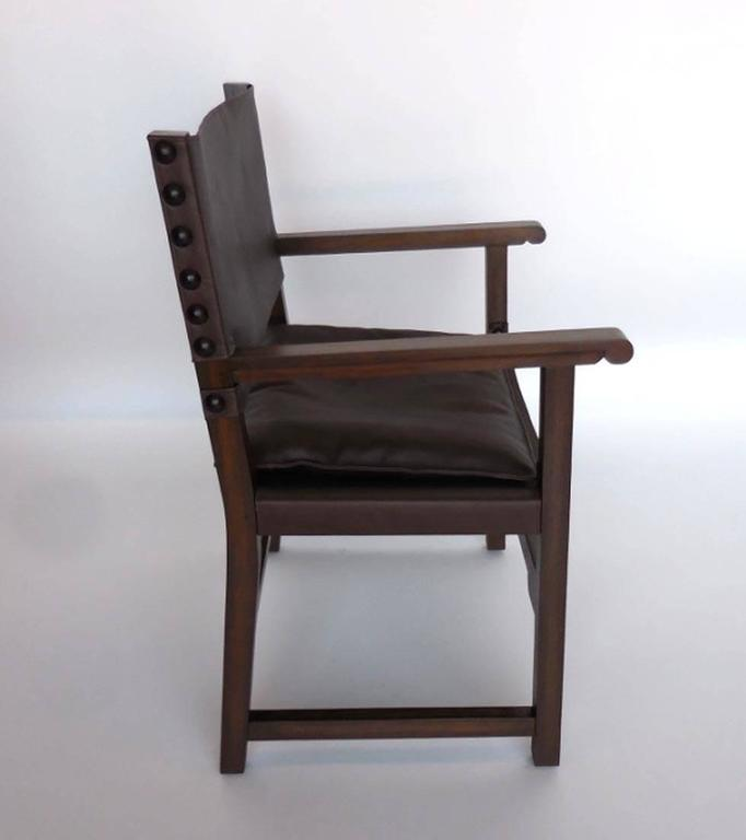 Dos Gallos Custom Leather Sing Chair In Excellent Condition For Sale In Los Angeles, CA