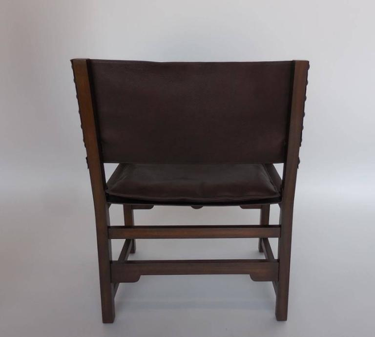 American Dos Gallos Custom Leather Sing Chair For Sale