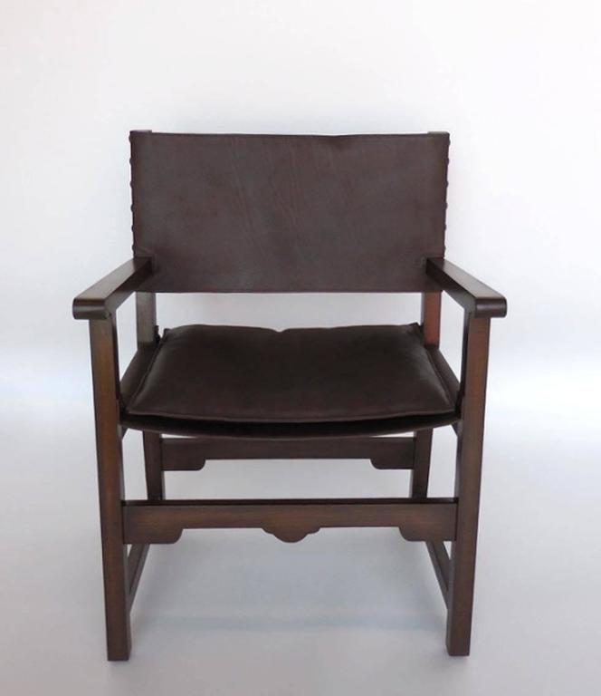 Spanish Colonial Dos Gallos Custom Leather Sing Chair For Sale