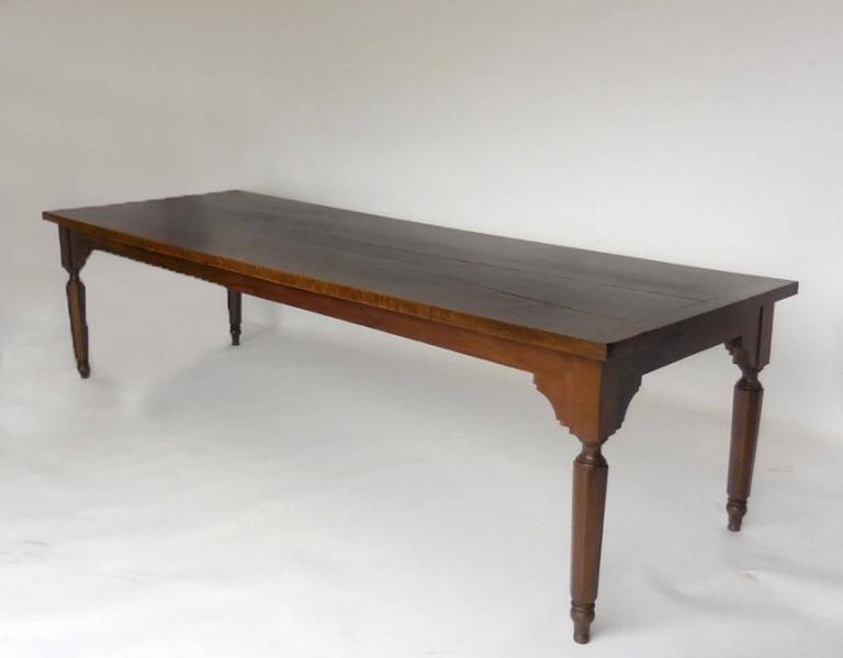 Spanish Colonial Very Large Antique Walnut Wood Dining Table For