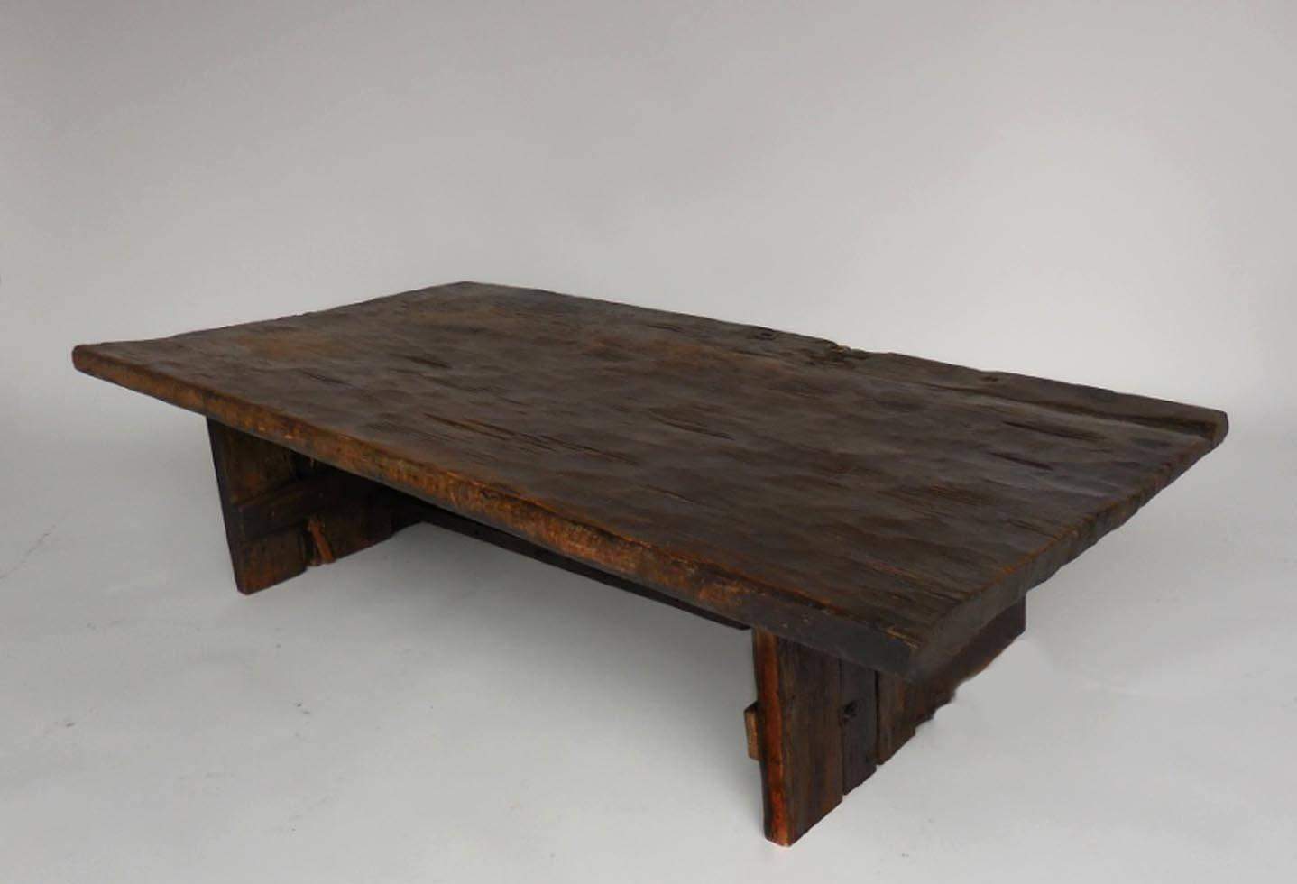 Primitive Modern Wood Coffee Table One Wide Board For Sale At 1stdibs