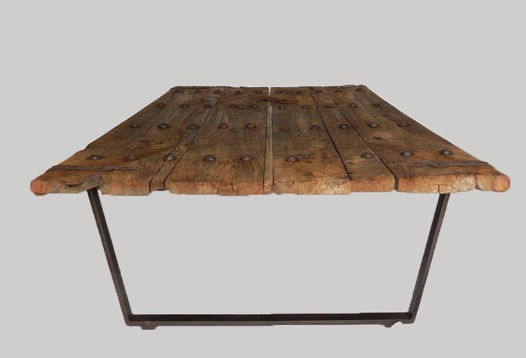 Early Japanese Elm Door Coffee Table With Iron Nails On Custom Base 2