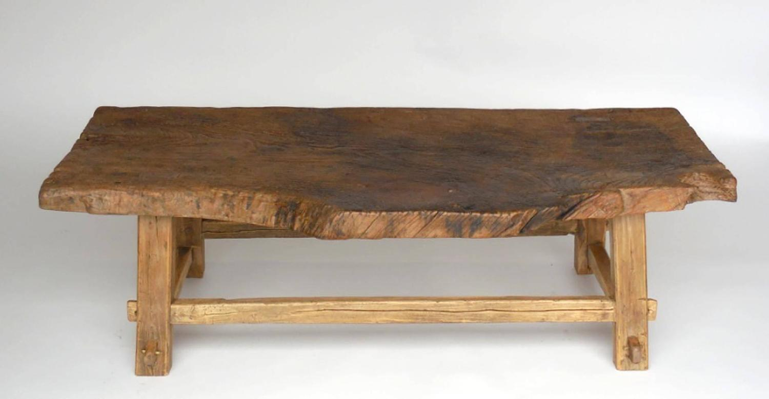 One Wide Board Elm Wood Coffee Table With Live Edge For Sale At 1stdibs