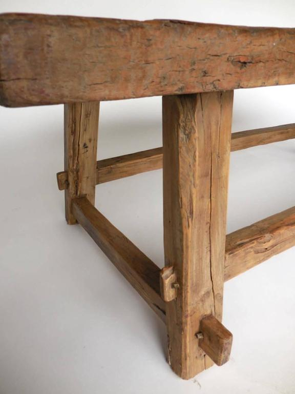 One wide board elm wood coffee table with live edge at 1stdibs for Coffee tables 50cm wide