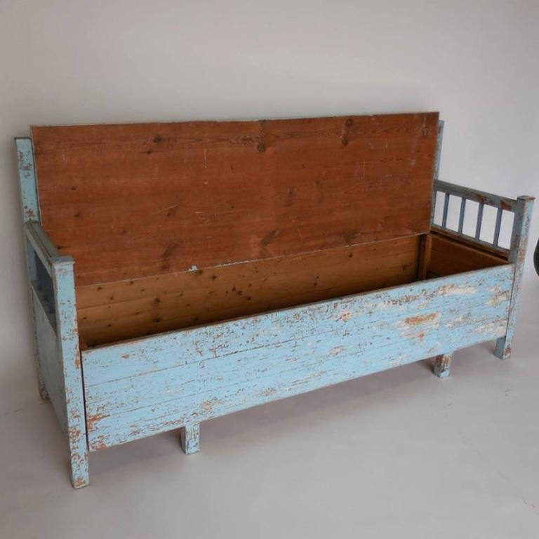 Scandinavian Folk Obsession Scandinavian Box Beds: 19th Century Antique Swedish Painted Wood Lift Top Bench