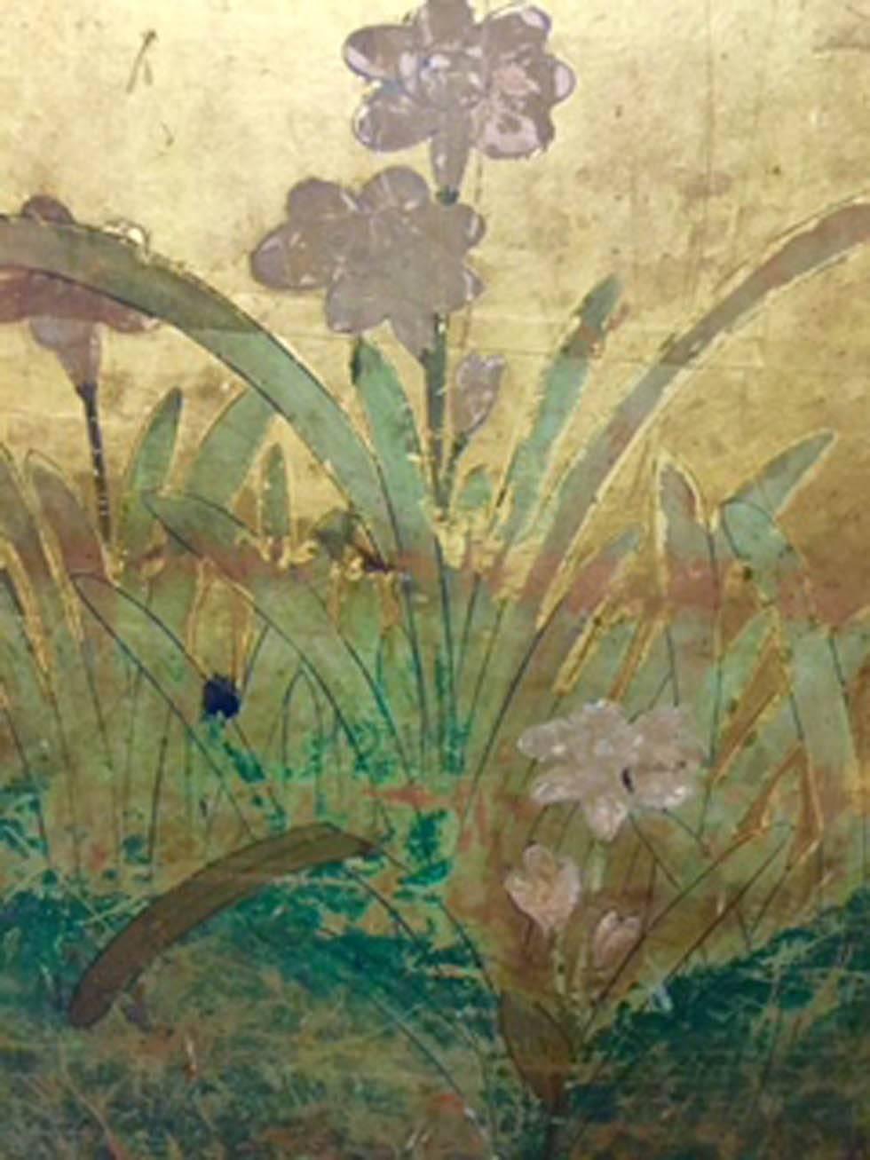 Antique Edo Period Japanese Gold Leaf Painted Narcissus