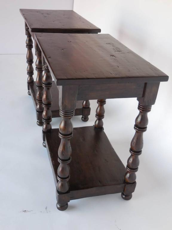 Custom walnut side tables or nightstands with drawer. Legs are turned and end in a low shelf.   Made in Los Angeles by Dos Gallos Studio.  PRICED PER PIECE  Made to order.  As shown in Dark Walnut and Medium to Heavy distress.  Can be made in