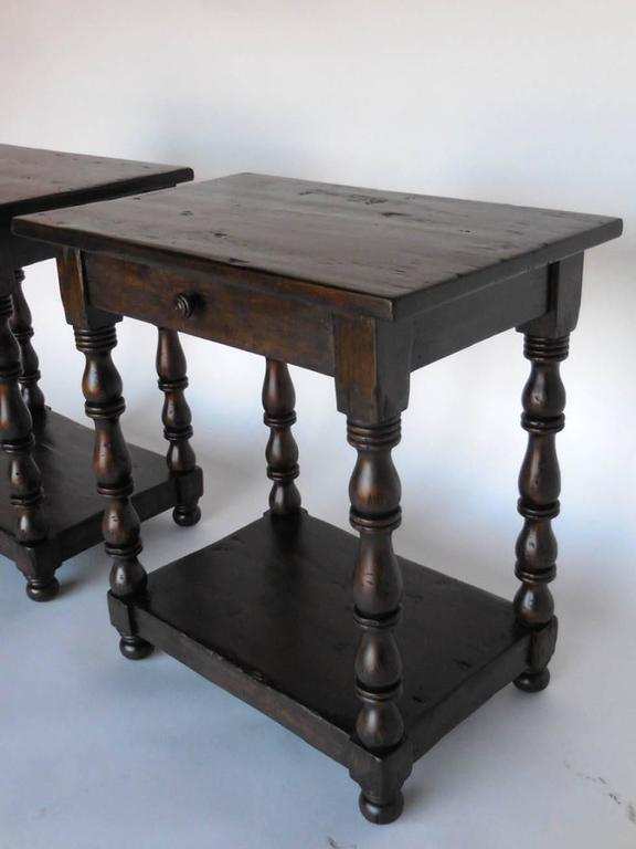 Spanish Colonial Dos Gallos Custom Side Tables/Nightstands with Turned Legs, Drawer and Shelv For Sale