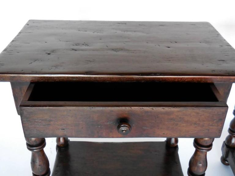 American Dos Gallos Custom Side Tables/Nightstands with Turned Legs, Drawer and Shelv For Sale