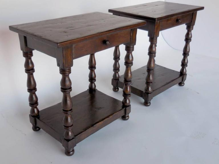 Dos Gallos Custom Side Tables/Nightstands with Turned Legs, Drawer and Shelv In Excellent Condition For Sale In Los Angeles, CA
