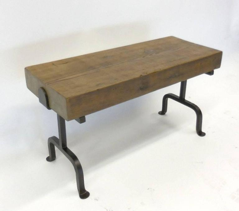 Dos gallos custom reclaimed wood rustic bench with iron for Reclaimed wood furniture los angeles