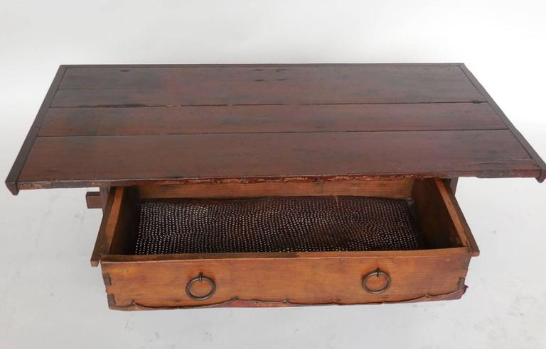 South American Rustic Coffee Table with Leather Bottom Drawer For Sale