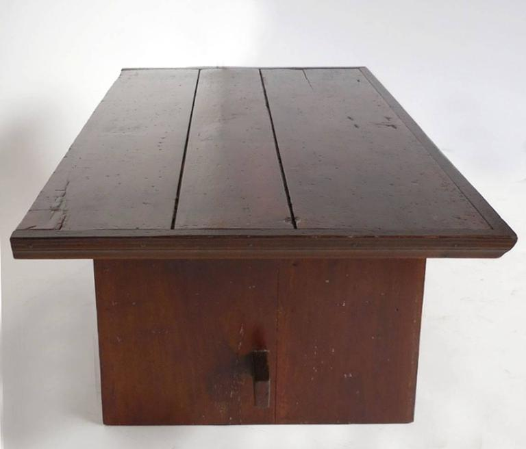 20th Century Rustic Coffee Table with Leather Bottom Drawer For Sale