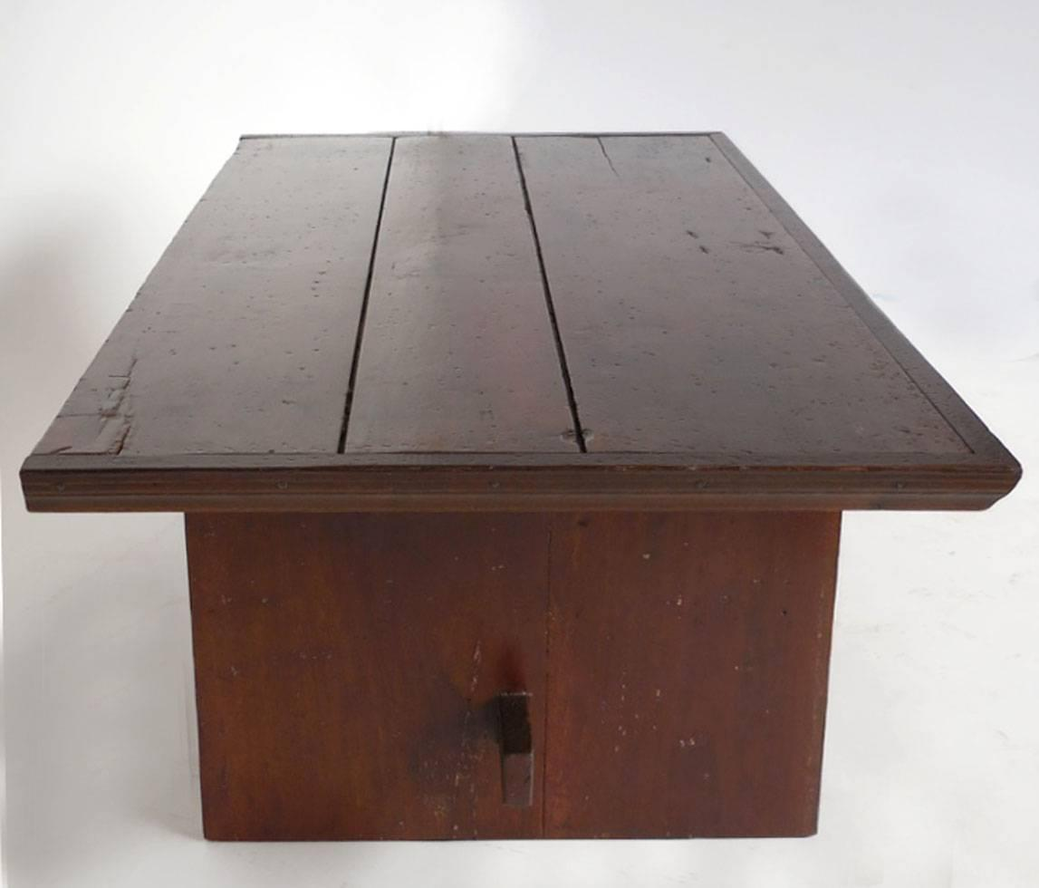 Coffee Table Leather Drawers: Rustic Coffee Table With Leather Bottom Drawer For Sale At