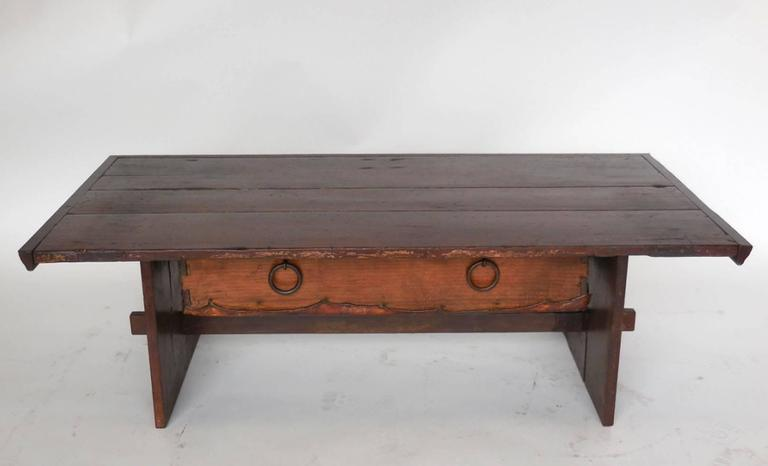 Rustic Coffee Table with Leather Bottom Drawer For Sale 1