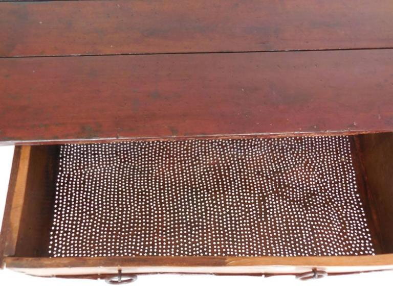 Rustic Coffee Table with Leather Bottom Drawer For Sale 2