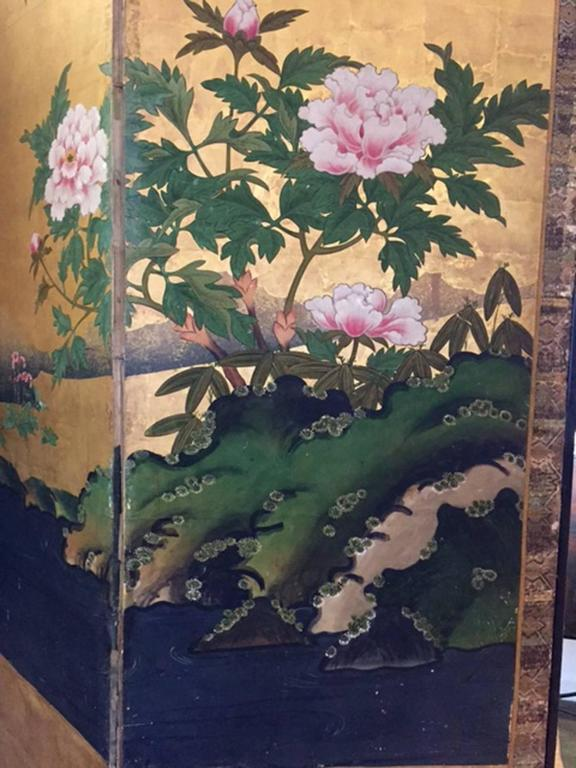 This six panel screen depicts the transition from spring to summer, circa 1750. This sensitivity to seasonal change is an important part of Shinto, Japan's native belief system and painters often depicted a single environment transitioning from