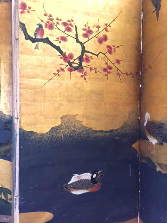 Edo 18th Century Antique Japanese Gold Leaf Screen with Blossoms and Birds For Sale