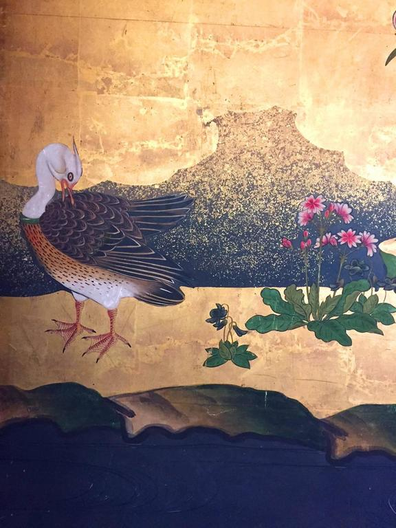 18th Century Antique Japanese Gold Leaf Screen with Blossoms and Birds For Sale 3