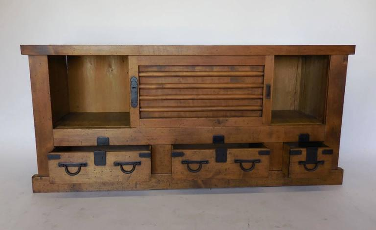 Edo 19th Century Antique Japanese Low Tansu with Sliding Doors For Sale