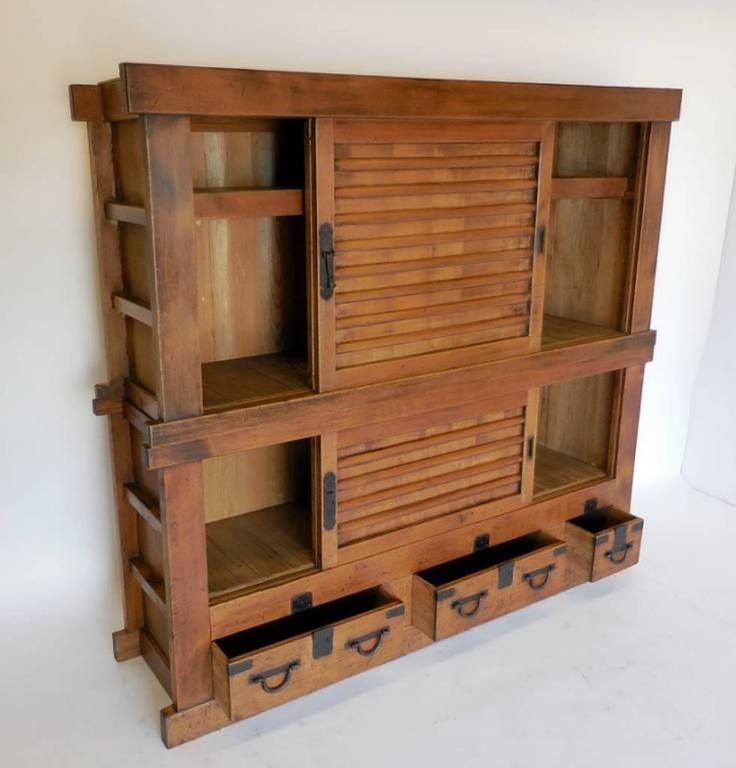19th Century Japanese Double Tansu Storage Cabinet For