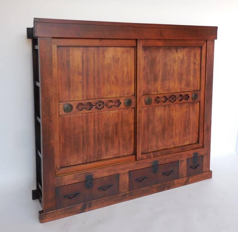 Large 19th Century Japanese Tansu Storage Chest with Sliding Doors ...