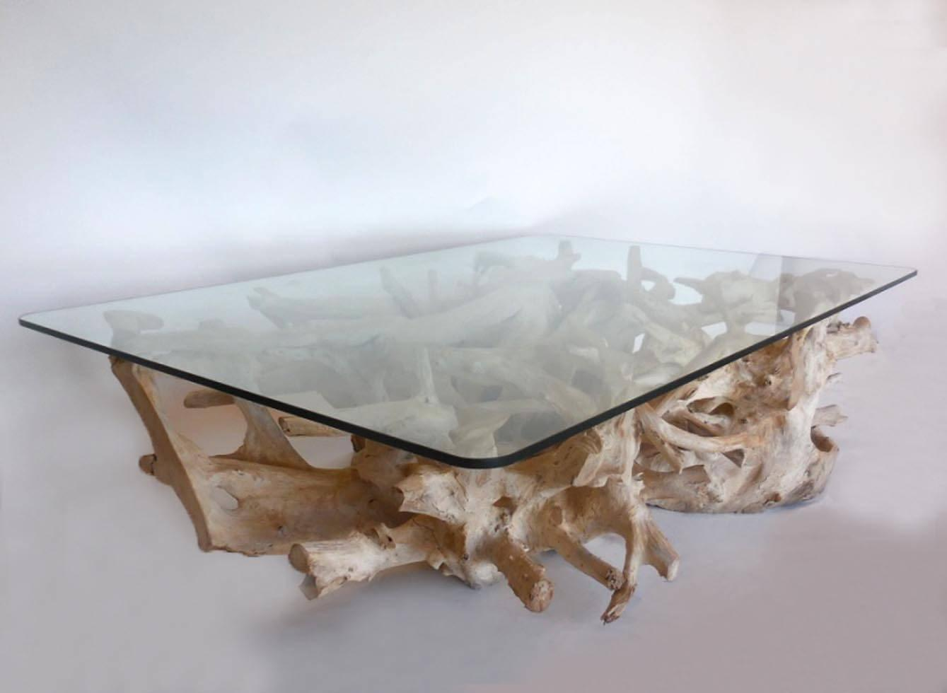 Sculptural Teak Root Coffee Table with Glass Top For Sale ...