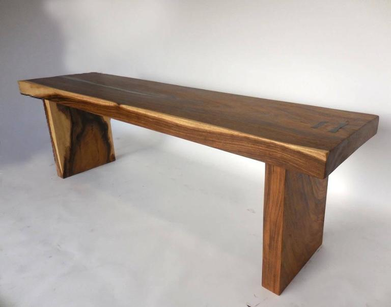Organic Modern Wood Slab Console Table With Pewter Inlay For Sale At 1stdibs