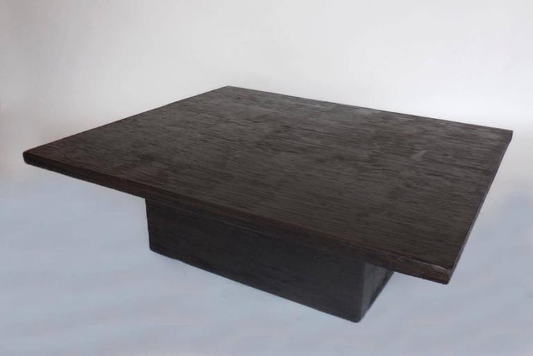 Custom reclaimed wood cube coffee table in espresso finish for Wood cube coffee table set