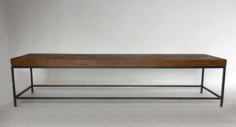 Reclaimed Wood Modern Clean Line Coffee Table or Bench with Iron