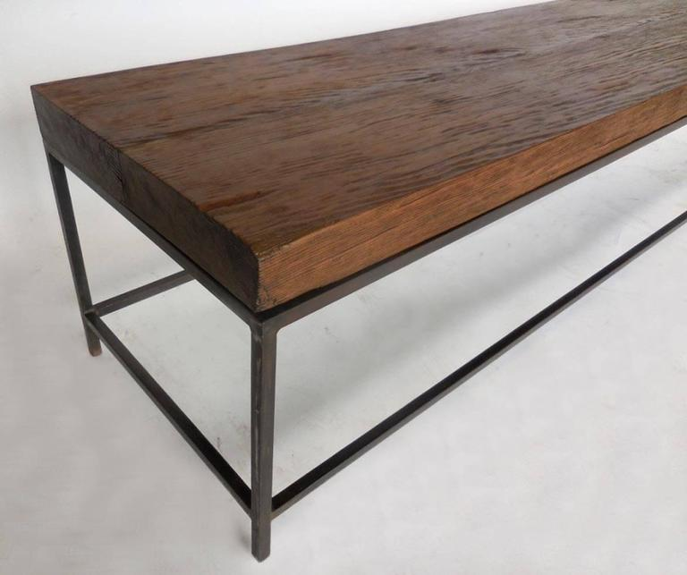 Reclaimed wood modern clean line coffee table or bench for Cocktail table with 4 benches